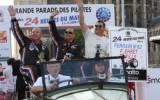 Pilotenparade in Le Mans, Shaun Lynn, Roger Willis und Pierre Ehret - Foto: Horst Bernhardt